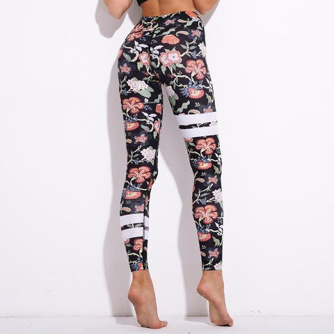 Striped Floral Push Up Leggings