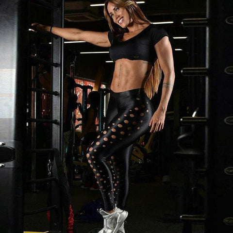 Hollow Dots Power Push Up Fitness Leggings - Squat Proof!