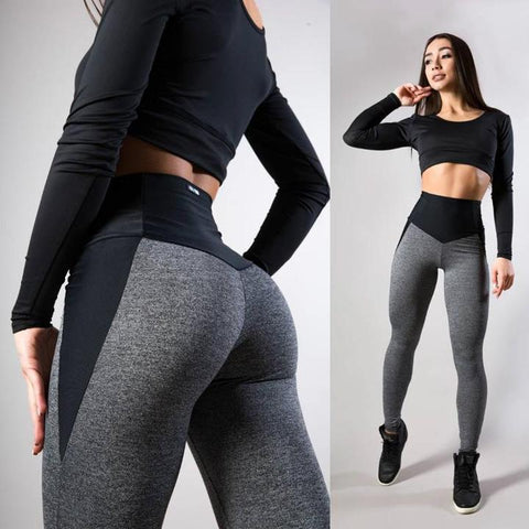 Image of Star Fit Patchwork Workout Leggings - No See Through