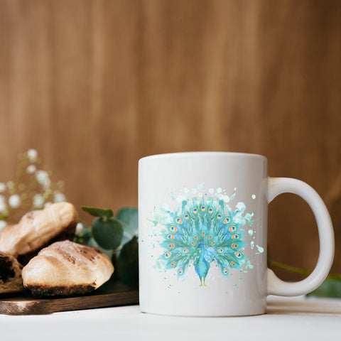 Image of Mug with Watercolor Peacock Design