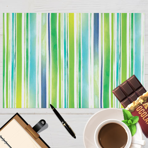 Image of Placemat with Watercolor Stripes Design