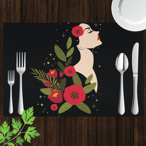 Image of Placemat with Woman's Portrait Design