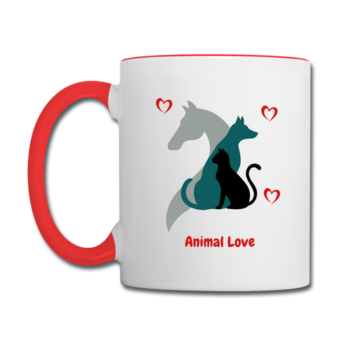 Animal Love - Contrast Coffee Mug - white/red