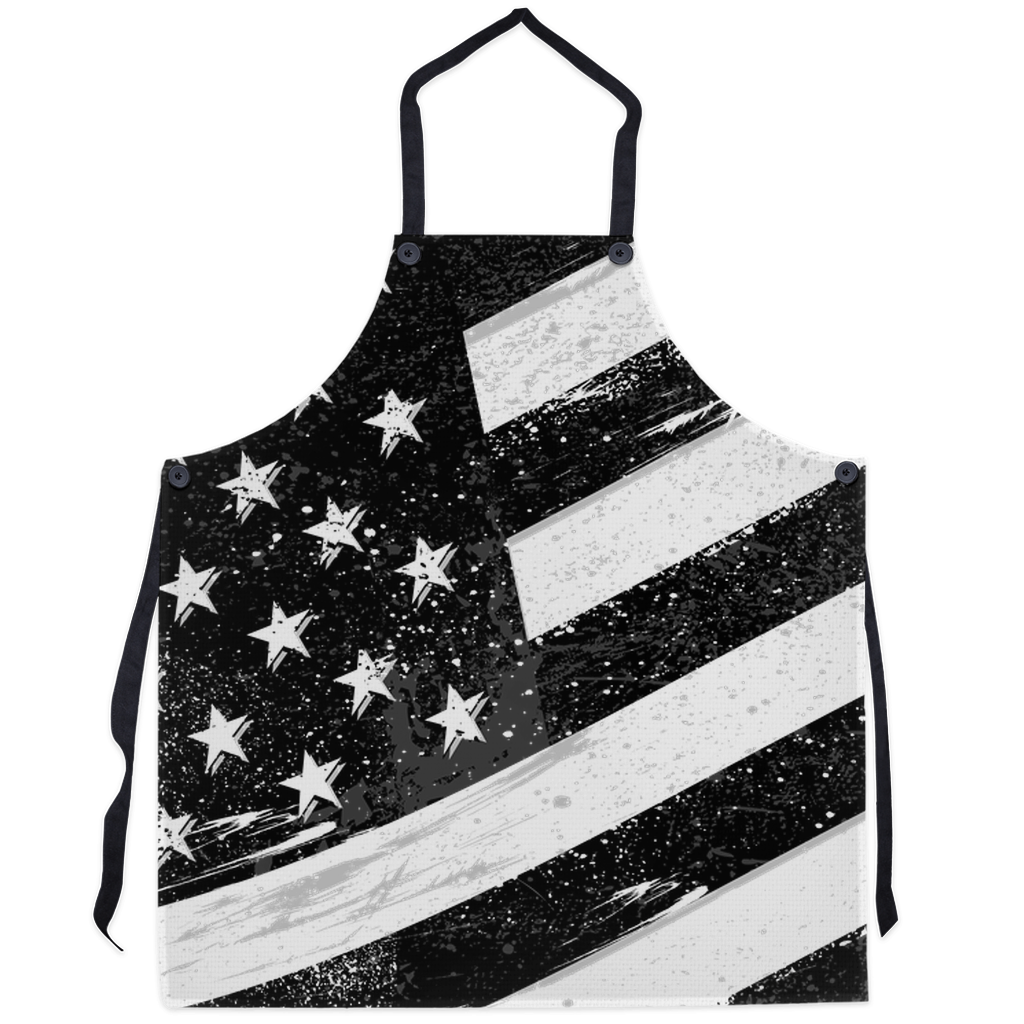 American Flag Apron - Black and White American Flag Printer on Apron