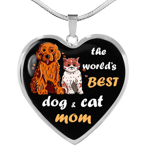 Image of World's Best dog and cat Mom Necklace