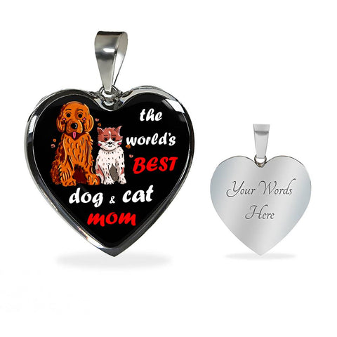 World's Best Dog And Cat Mom Necklace