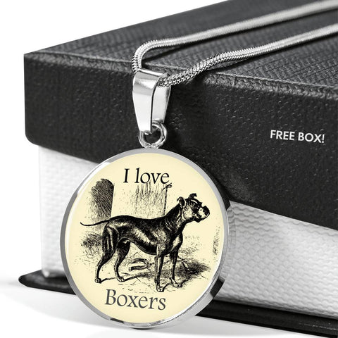 I love Boxers Necklace with vintage illustration