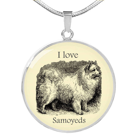 I love Samoyeds Necklace with vintage illustration
