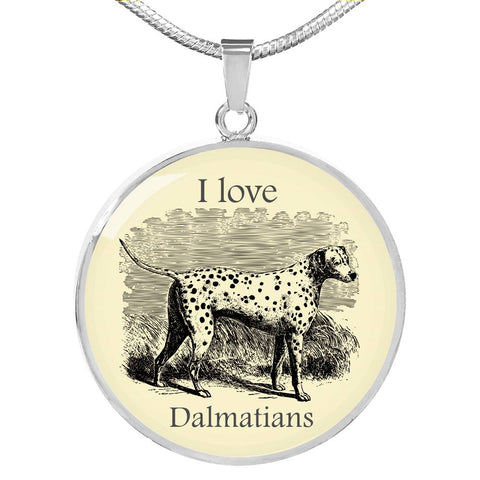 I love Dalmatians Necklace - Vintage drawing