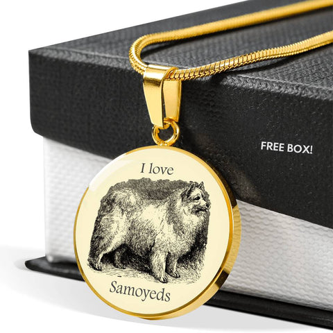 Image of I love Samoyeds Necklace with vintage illustration