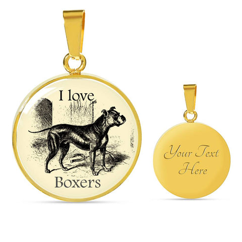 Image of I love Boxers Necklace with vintage illustration