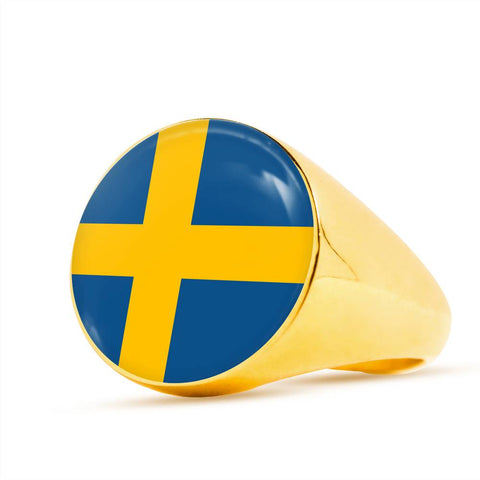 Image of Swedish High Quality Flag Ring - Perfect gift for a Swedes or someone that loves Sweden.