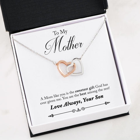 Image of Interlocking Hearts - Son to Mom - you are Loved More Than You Know
