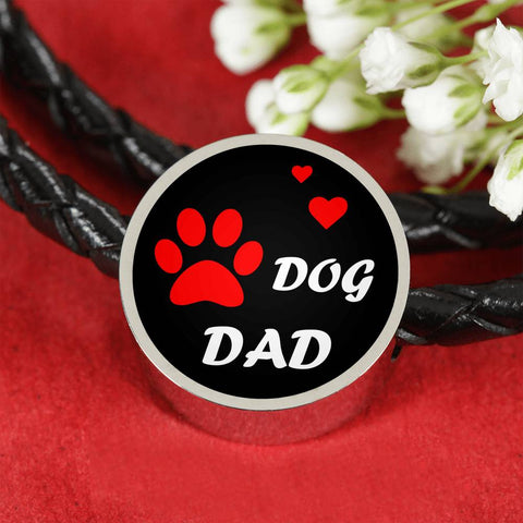 Dog Dad Bracelet with Leather Band