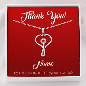 (NEW) Beautiful Stethoscope Necklace Unique Gift For Nurses, Doctors, Veterinarians - Personalize This! - Made in USA
