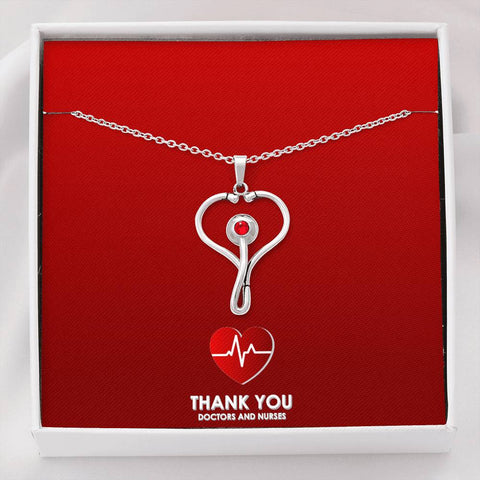 Image of Beautiful Stethoscope Necklace Unique Gift For Nurses, Doctors, Veterinarians