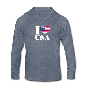 I love USA Tri-Blend Hoodie Shirt - heather blue