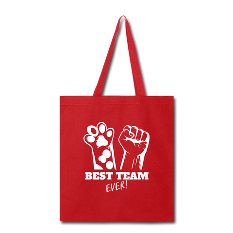 Image of Best Team Ever Tote Bag - red