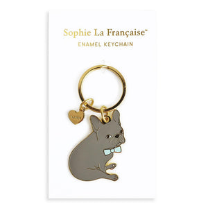Blue French Bulldog Keychain