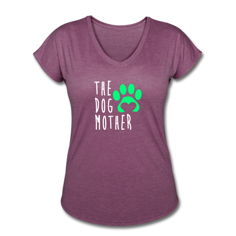 The Dog Mother - Women's Tri-Blend V-Neck T-Shirt - heather plum