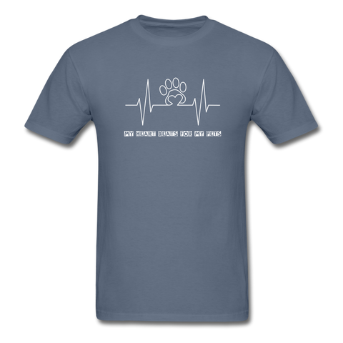 Image of My Heart Beats for my Pets Men's T-Shirt - denim