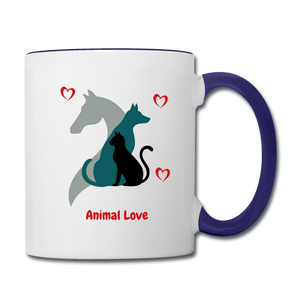 Animal Love - Contrast Coffee Mug - white/cobalt blue
