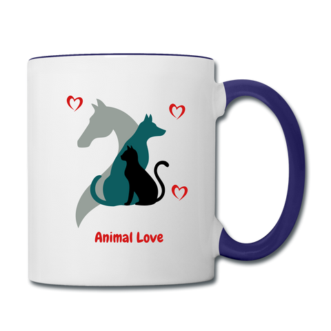 Image of Animal Love - Contrast Coffee Mug - white/cobalt blue