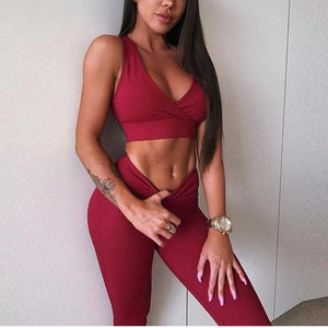 Seductive 2 Piece Workout Outfit - V-Neck Top - Leggings are Squat Proof!