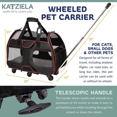 Wheeled Pet Carrier Airline Approved Super Strong and Durable