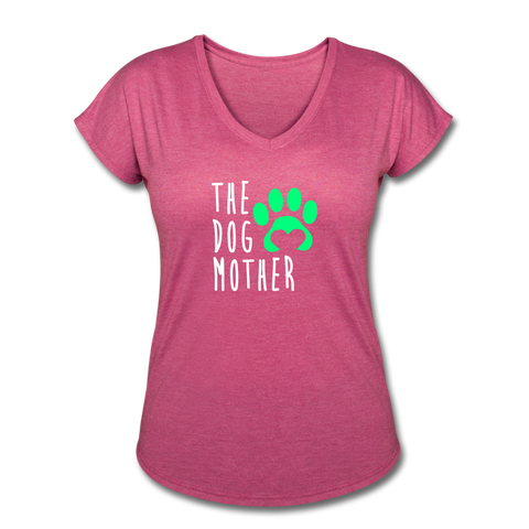 The Dog Mother - Women's Tri-Blend V-Neck T-Shirt - heather raspberry