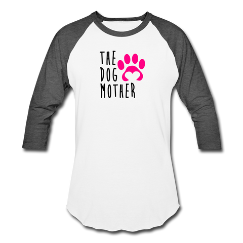 Image of The Dog Mother - Baseball T-Shirt - white/charcoal