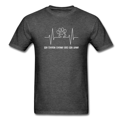 Image of My Heart Beats for my Pets Men's T-Shirt - heather black