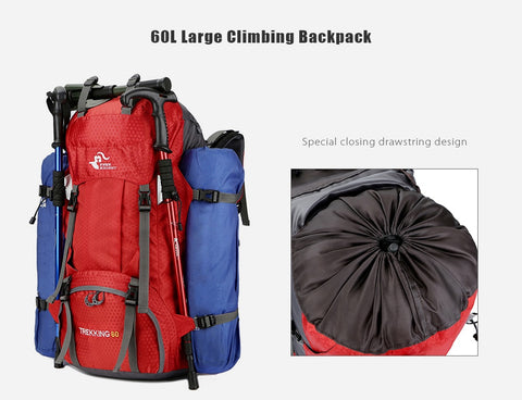 Outdoor Backpack with Rain Cover - 60L - Light Weight - Water Resistant - Comfortable