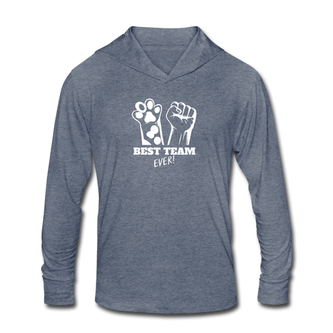 Image of Best Team Ever Unisex Tri-Blend Hoodie Shirt - heather blue