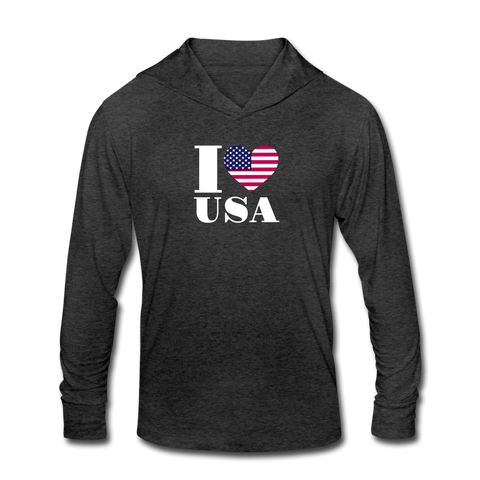 I love USA Tri-Blend Hoodie Shirt - heather black