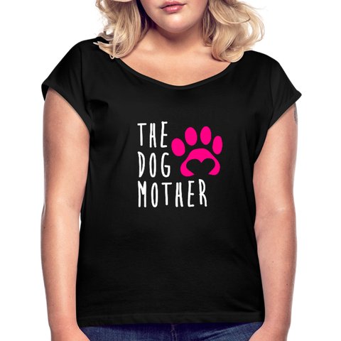 Image of The Dog Mother Women's Roll Cuff T-Shirt - black