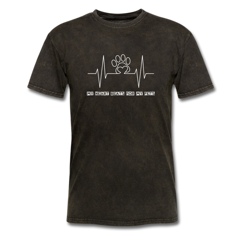 Image of My Heart Beats for my Pets Men's T-Shirt - mineral black