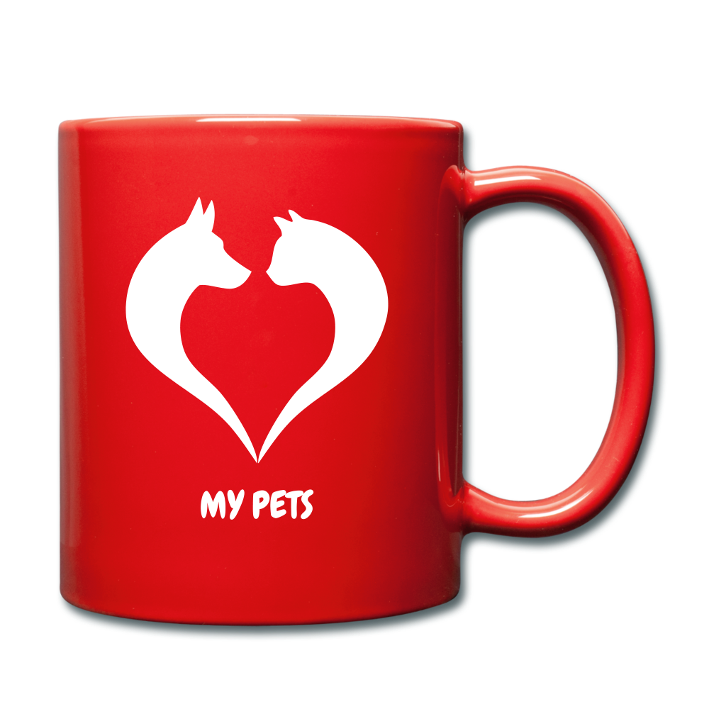 Love My Pets Full Color Mug - red