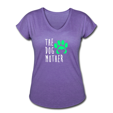 The Dog Mother - Women's Tri-Blend V-Neck T-Shirt - purple heather