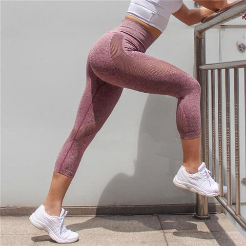 Image of Mesh Push Up Capri Leggings for Workout, Yoga and Other Fitness Activities.