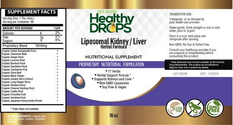 LIPOSOMAL KIDNEY AND LIVER HERBAL SUPPORT | 17 HERB FORMULA