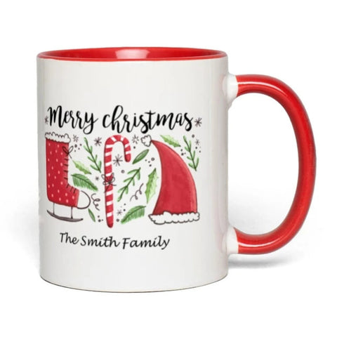 Image of Merry Christmas Mug You Can Personalize with your family name or as a gift to a loved one