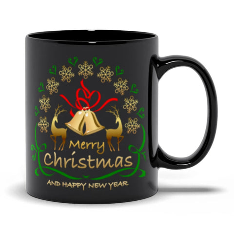 Merry Christmas Happy New Year Black Mugs