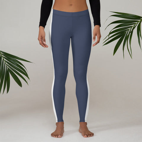Image of Leggings - blue with white stripe
