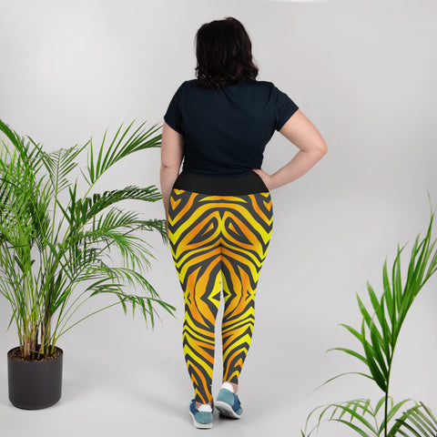 Image of Plus Size Leggings with Tiger Pattern