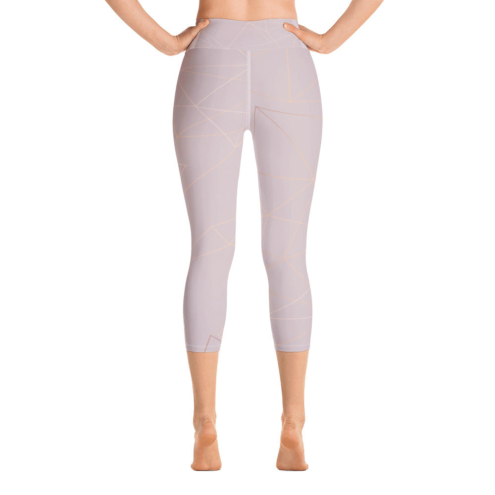 Old Rose with Gold Geometric Print Yoga Capri Leggings