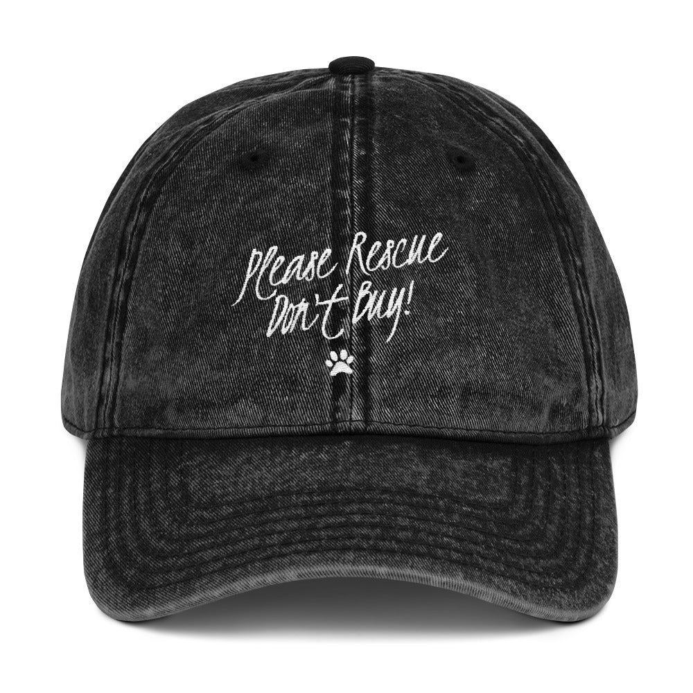 Please Rescue Don't Buy - Vintage Cotton Twill Cap