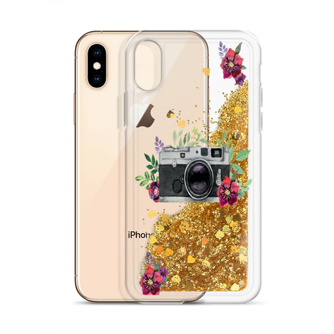 Vintage Camera Liquid Glitter Phone Case