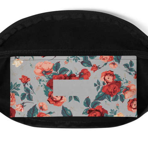 Image of Vintage Rose on Gray Fanny Pack