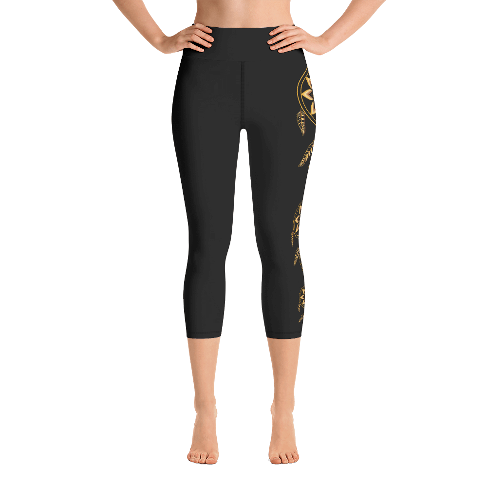 Gold Dreamcatcher on Black Yoga Capri Leggings